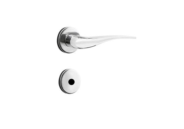 Fechadura para Porta de Banheiro Cromada 40mm com Roseta MZ930 Design Papaiz