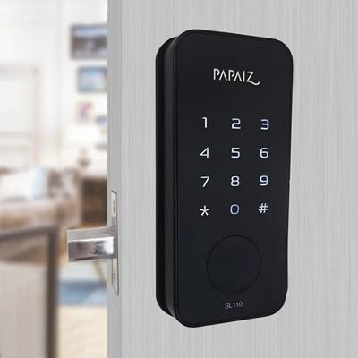 Fechadura Smart Lock Embutida Preta SL110 sem Maçaneta Papaiz
